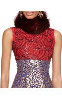 Oscar de la Renta Fur Collar Ruby Red - Lyst