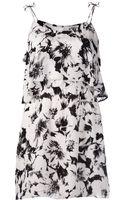Parker Silk Spaghetti Strap Dress in Black Magnolia Print - Lyst