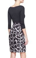 Paule Ka Combo Dress with Jersey Top Leopard Skirt Graybrownmulti - Lyst
