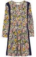 Band Of Outsiders Floral Blocked Long Sleeve Trapeze Dress - Lyst