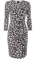 Michael Kors Long Sleeved Knotted Cheetah Print Dress - Lyst