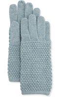 Portolano Pearl-stitch Metallic Knit Gloves - Lyst