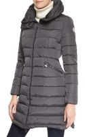 Moncler Long Puffer Coat with High Collar - Lyst