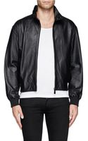 McQ by Alexander McQueen Cropped Leather Bomber Jacket - Lyst
