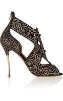 Nicholas Kirkwood Lacecovered Cutout Suede Sandals - Lyst