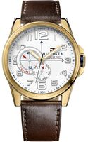 Tommy Hilfiger Mens Brown Leather Strap Watch 46mm - Lyst