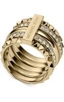 Michael Kors Goldtone Clear Pavé Stackable Pyramid Ring - Lyst