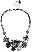 Betsey Johnson Black-tone Filigree Dragonfly and Flower Linked Frontal Necklace - Lyst