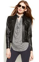 Michael Kors Michael Petite Leather Moto Jacket - Lyst