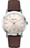 Bulova Stainless Steel Dress Collection Watch with Leather Strap - Lyst