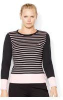 Lauren by Ralph Lauren Plus Stripe Cotton Top - Lyst