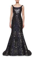 Oscar de la Renta Sleeveless Moire Metallic Mermaid Gown - Lyst