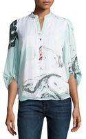 Diane Von Furstenberg 34sleeve Marbleprint Crepe Tunic - Lyst