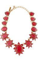 Oscar de la Renta Bold Pear Shaped Resin Crystal Necklace Pink - Lyst