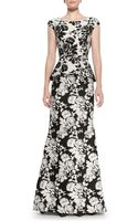 Oscar de la Renta Cap-sleeve Abstract Floral Gown - Lyst