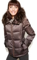 Calvin Klein Hooded Faux Fur Trim Quilted Puffer Coat - Lyst