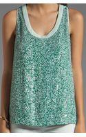 Diane Von Furstenberg Emilia Marble Sequins Top in Green - Lyst