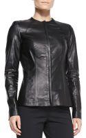 Lafayette 148 New York Zia Zip Leather Jacket Black - Lyst
