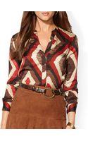Ralph Lauren Lauren Diamond Print Silk Blouse - Lyst