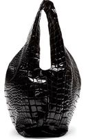 Maison Martin Margiela Black Croc_embossed Tote Bag - Lyst