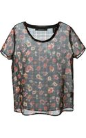 Maison Scotch Sheer Floral Print Top - Lyst