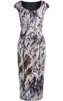 Amanda Wakeley Feather Print Scuba Short Dress - Lyst