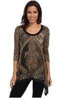 Karen Kane Gold Scroll Handkerchief Top - Lyst