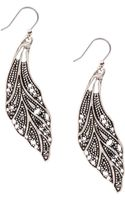 Lucky Brand Silvertone Openwork Feather Earrings - Lyst