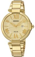 Seiko Womens Solar Goldtone Stainless Steel Bracelet Watch 33mm Sut176 - Lyst