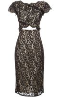 Lover Cap Sleeve Fitted Lace Dress - Lyst