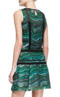 Veronica Beard Lace-panel Printed Silk Dress - Lyst