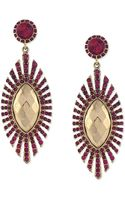 Jessica Simpson Goldtone Fuchsia Stone Drop Earrings - Lyst