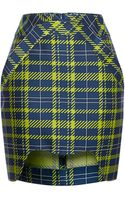 Antonio Berardi Neon Printed Plaid Mini Skirt - Lyst