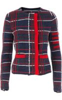 Thom Browne Knitted Check Cardigan - Lyst