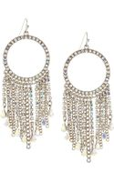 Fragments Rhinestone Hoop Tassel Earrings - Lyst