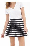 Forever 21 Pleated Stripe Skirt - Lyst