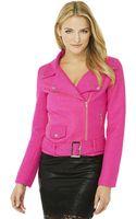 Akira Black Label Wool-blend Moto Jacket in Hot Pink - Lyst