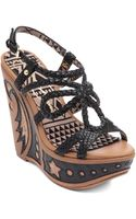 Jessica Simpson Braided Leather Strappy Wedge Sandals - Lyst