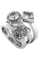Vince Camuto Silver-tone and Mixed Glitz Ring Set - 3 - Lyst