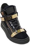 Giuseppe Zanotti Homme Velvet Patent Leather Sneakers - Lyst