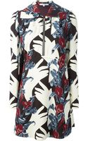 Carven Crepe Zipped Collar Floral Dress - Lyst