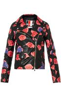 MSGM Lipsprint Leather Jacket - Lyst