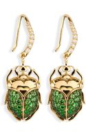 Aurelie Bidermann Diamond and Tsavorites Beetle Earrings - Lyst