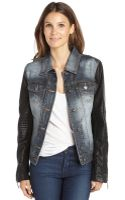 BCBGMAXAZRIA Distressed Denim Nikki Jacket with Faux Leather Sleeves - Lyst