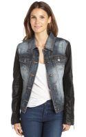 BCBGMAXAZRIA Distressed Denim Nikki Jacket with Faux Leather Sleeves - Lyst