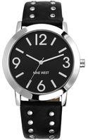 Nine West Womens Black Studded Strap Watch - Lyst