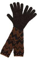 Missoni Polka Dot Zigzag Gloves Brown - Lyst