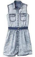 Gap Marble Wash Denim Shirtdress - Lyst
