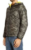 Armani Jeans Down Jacket Bomber with Hood Nylon Camouflage - Lyst