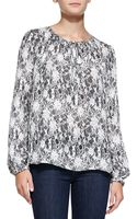 L'Agence Lacefloral-print Peasant Blouse - Lyst